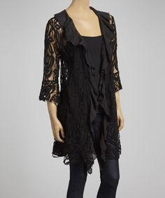 This Lady Noiz Black Sheer Roses Open Cardigan by Lady Noiz is perfect! #zulilyfinds