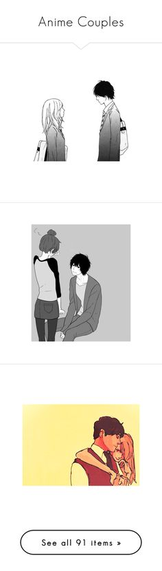 """""""Anime Couples"""" by fizzytizzy ❤ liked on Polyvore featuring anime, manga, anime couple, couple, filler, fillers, text, words, quotes and backgrounds"""