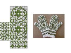 Knitted Mittens Pattern, Knitted Slippers, Knit Mittens, Knitted Gloves, Knitting Charts, Free Knitting, Knitting Patterns, Hippie Crochet, Knit Crochet