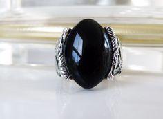 BIG Vintage Design Sterling Silver 925 Black Onyx Chunky Unisex Ring Size 10 #Barse #Statement