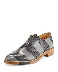 Perforated Brush-Off Leather Oxford