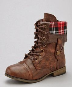 Brown Leather Fold Over Lace up Boots--certainly very much love. Mm. these boots.