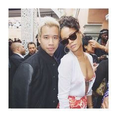 Jared from Just Jared and Rihanna at Pre Grammys Roc Nation Brunch in Los Angeles, February 7th 2015