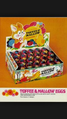 From 1972 Rowntree's toffee & mallow milk chocolate eggs Old Sweets, Vintage Sweets, Retro Sweets, Vintage Toys, Retro Food, 1980s Childhood, My Childhood Memories, Sweet Memories, Childhood Images