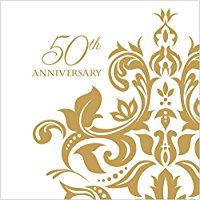 Creative Converting 36 Count 3 Ply 50th Anniversary Beverage Napkins, Golden
