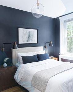 warm blue shades for accent wall in master bedroom - Google Search