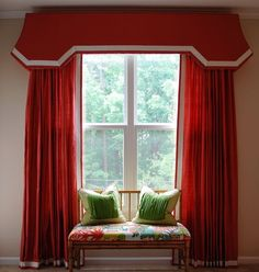 Pagoda cornice / panels in classic red & trimmed in white. Very dramatic!