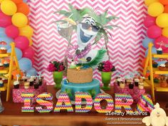 Fun dessert table at an Olaf in summer birthday party! See more party planning ideas at CatchMyParty.com!