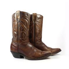 Brown Cowboy Boots Vintage 1970s Leather Distressed Women's size 8 C