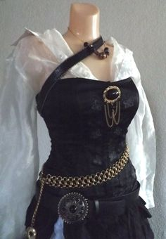 Small Pirate Halloween Costume - Small Women's Pirate Costume with Belts, Jewelry, Skirt, Sheer Blouse & Corset Top Female Pirate Costume, Pirate Halloween Costumes, Diy Pirate Costume For Women, Pirate Fancy Dress Costume, Women Halloween, Adult Halloween, Couple Halloween, Womens Pirate Makeup, Renaissance Pirate Costume