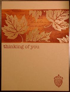 ...autum leaves embossed in copper, Melissa's Creations ... kraft base card ... masked off band with emboss and resist stamping and sponging ...