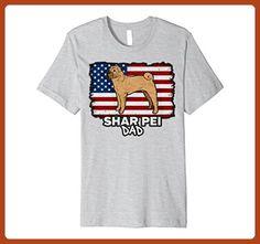 Mens Patriotic Shar Pei Dad Dog American Flag T-shirt 3XL Heather Grey - Relatives and family shirts (*Partner-Link)