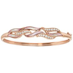 Kabana Bracelet is inlaid with Pink Mother of Pearl, set in 14k rose gold and accented with diamonds.