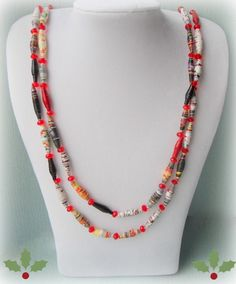 Paper and Red Glass Bead Necklace - £9.00 (free shipping) #craftfest