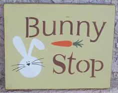 Bunny Stop Sign  Easter Sign  Easter by WyliesWhimsicals on Etsy, $10.00