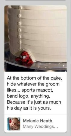 So cute <3 Honestly, I would go as far as covering the cake in lightsabres and minecraft characters if it made him happy, (you know...not that I'm planning to marry Brandon or anything...) but this is cute too, and more discrete.