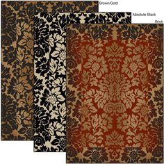 Bring a classic look and feel to your home with this olefin floral area rug. 100 percent heat set olefin is used to produce this machine made transitional rug which is available in black, brick, and chocolate with gold color options.