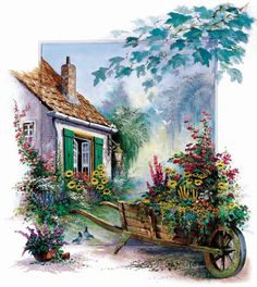 The Blossoming Barrow - Counted Cross Stitch Patterns Cool Paintings, Beautiful Paintings, Landscape Art, Landscape Paintings, Dream Pictures, Cottage Art, Dot Painting, Painting Doors, Oeuvre D'art