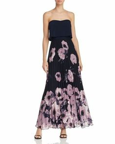 9e976437d Aqua Pleated Floral-Print Strapless Maxi Dress MSRP $258 Size 8 # 3B 413 NEW
