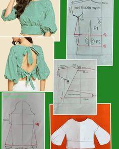Back neck design Dress Sewing Patterns, Clothing Patterns, Blouse Sewing Pattern, Pattern Drafting, Diy Clothing, Sewing Clothes, Fashion Sewing, Diy Fashion, Ankara Mode