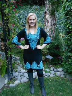 Black with Turquoise Stitch Dress plus size by tiedyebypureintent, $39.99