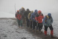 Struggling towards the summit on the Crater Rim, Lemosho Day 6.