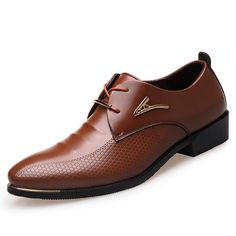 Big Size Fashion Men Dress Shoes Pointed Toe Lace Up Men's Business Casual Shoes Brown Black Leather Oxfords Shoes size 38 (US suit for foot Length size 39 (US suit for foot Length size 40 (US suit for foot Length size 41 (US suit for foot Length size 42 Mens Business Casual Shoes, Business Shoes, Men Dress, Dress Shoes, Dress Clothes, Dress Loafers, Leather Fashion, Mens Fashion, Fashion Shoes