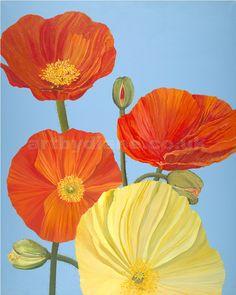 'Poppy Show' by British acrylic artist Diane Holmes.