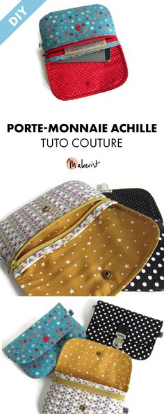 Christmas Outfits : Tuto Couture pdf Achille wallet - 13 pages detailed Coin Couture, Couture Sewing, Coin Purse Tutorial, Wallet Tutorial, Diy Sac, Patchwork Bags, Little Bag, Bag Making, Purses And Bags