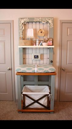 Baby changing table from an old door