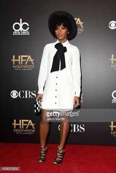 Janelle Monae Annual Hollywood Film Awards Kate Spade dress and clutch White Fashion, Girl Fashion, Fashion Outfits, Womens Fashion, Look Body, Kate Spade, White Outfits, Work Outfits, Black Is Beautiful