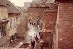 Old street in Sibiu/Hermannstadt/Nagyszeben, Romania, spring 1984 Sibiu Romania, Old Street, Moldova, Hungary, Poland, City, Places, Travel, Trips