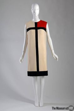 "Yves Saint Laurent ""Mondrian"" dress, 1965. From the collection of The Museum at FIT. #FakingItFashion #YSLhalston  Yves Saint Laurent's ""Mondrian"" dress is one of the most famous examples of a designer ""borrowing"" from the world of fine art. Saint Laurent strategically placed each individual shape on this dress, in order to achieve what Harper's Bazaar described as ""assertive abstraction, a semaphore flag, sharply defined in crisp white jersey, perfectly proportioned to flatter your figure."""