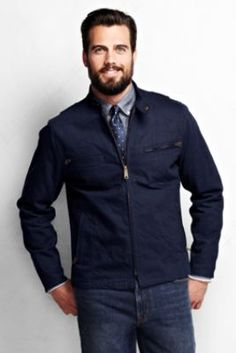 Men's Denim Moto Jacket from Lands' End