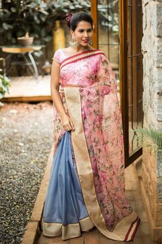 Pink floral print and greyish purple organza half and half saree with border  #saree #blouse #houseofblouse #floral