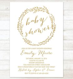 baby shower invitation white gold wreath by pinkdahliaprintable