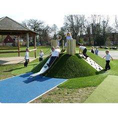 Playscaping - creative use of natural land features to go beyond just flat playgrounds Kids Outdoor Playground, Park Playground, Natural Playground, Playground Design, Backyard For Kids, Playground Slides, Children Playground, Outdoor Play Areas, Landscape Design