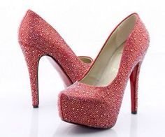 Peach Louis Vuitton heels with red soles