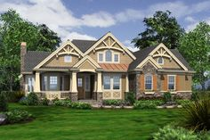 Houseplans.com Bungalow / Craftsman Front Elevation Plan #132-200