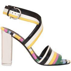 Salvatore Ferragamo Women 85mm Gilli Striped Leather Sandals ($960) ❤ liked on…