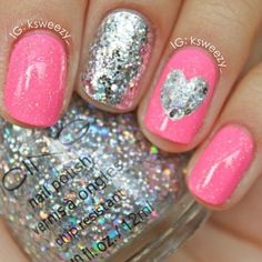 pink and glitter nails....cute for tween or teen girls for more nail art ideas, visit  www.sparkofallure.com