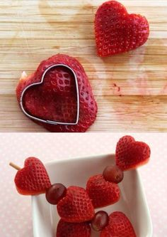 Cute Valentine's fruit sticks, would work with kiwi fruit too. From Lunchbox tips for busy moms and dads - Facebook page. Image only