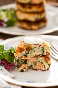 (England) Salmon Cakes with Chive and Garlic Sauce. These cakes are prepared with potatoes instead of bread crumbs so could be easily made gluten-free.