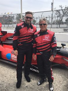 Mario Andretti takes Julian Edelman for a ride in his Indy Car