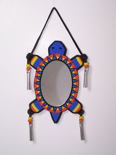 Native American Handmade Turtle Dance Mirror by TrackthePony Native American Regalia, Native American Crafts, Native American Beading, Loom Patterns, Beading Patterns, Peyote Stitch Tutorial, Dance Mirrors, Beaded Mirror, Beadwork Designs