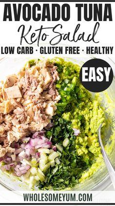 Easy Healthy Avocado Tuna Salad Recipe Easy Healthy Avocado Tuna Salad Recipe - A healthy easy avocado tuna salad recipe! See how to make avocado tuna salad in just 10 minutes. Bonus: tuna and avocado salad needs just 7 ingredients! What Is Healthy Food, Good Healthy Recipes, Real Food Recipes, Eat Healthy, Healthy Snacks, Easy Salad Recipes, Avocado Recipes, Lunch Recipes, Keto Recipes