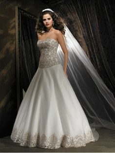 Organza Softly Curved Neckline Embroidered Bodice A-line Wedding Dress