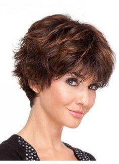Faddish Short Layers Top Quality Human Hair Full Lace Wig