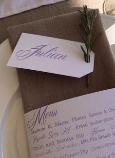 Menu and place setting Ricotta Dip, Pita Bread, Place Setting, Mind Blown, Olive Green, Wedding Day, Menu, Place Card Holders, Stuffed Peppers