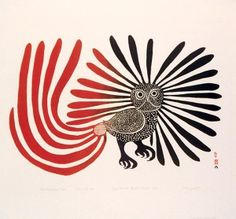 """Enchanted Owl"" Ashevak's  most famous work, was featured on a Canadian stamp & has permeated Canadian culture.  Ashevak created the iconic drawing in 1960. The red, black and blue print was featured on a Canadian stamp in 1970, & quickly became an enduring symbol of art in the North. The original The Enchanted Owl is currently housed in the National Gallery of Canada."